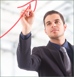 Businessman Drawing a Rising Arrow